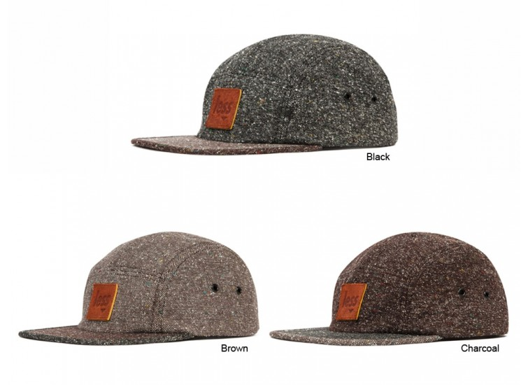 LESS - LEATHER SQUARE LOGO CAMP CAP (Black, Brown, Charcoal)