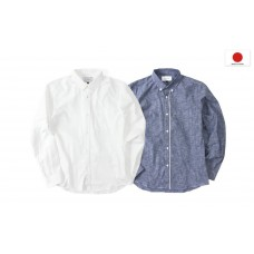 LESS - L/S NEP INDIGO BUTTON DOWN SHIRT (White, Navy)