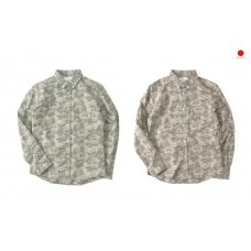 LESS - L/S CAMOUFLAGE BUTTON DOWN SHIRT (Green,Brown)