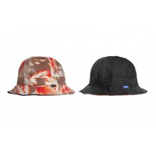LESS - FLOWER REVERSIBLE MILITARY HAT BROWN / BLACK