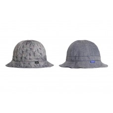 LESS - FLOWER REVERSIBLE MILITARY HAT GREY / LIGHT BLUE