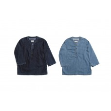LESS - DENIM PULLOVER BASEBALL JERSEY