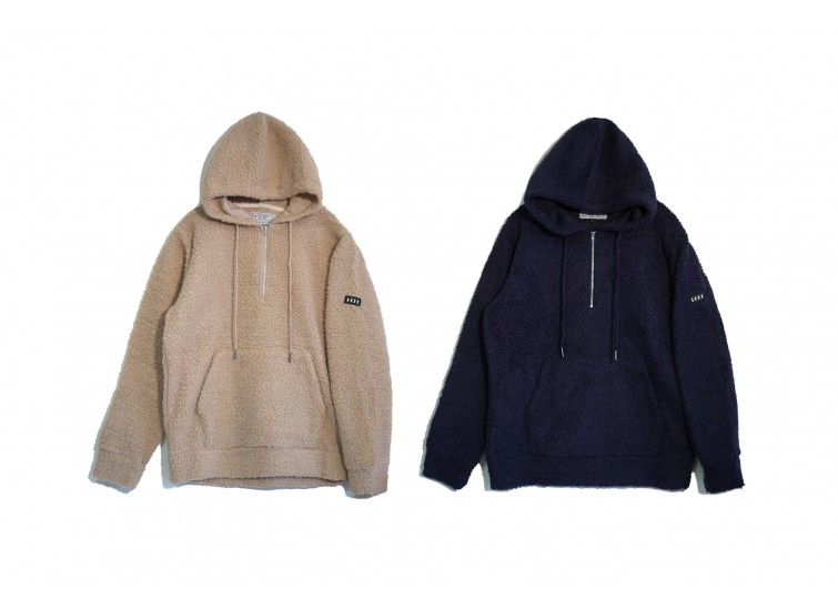 LESS - HALF ZIP UP FLEECE HOODIE