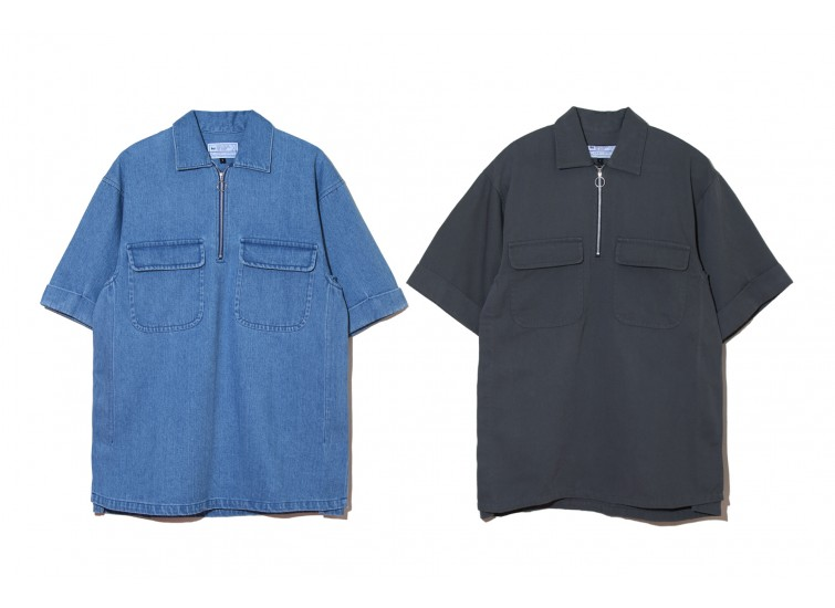 LESS - S/S HALF ZIP UP SHIRT